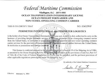 PGL NVOCC License